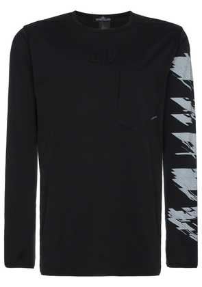 Stone Island Shadow Project logo print long sleeve t shirt - Black