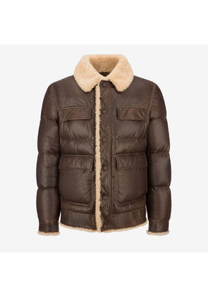 Bally Nappa Puffer Jacket Brown, Men's lamb nappa leather puffer jacket in vintage cowboy