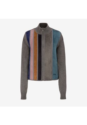 Bally Striped Suede Wool Jumper Multicolor, Women's wool and suede zip jumper in multicolor