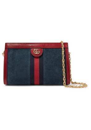 Gucci - Ophidia Leather-trimmed Suede Shoulder Bag - Blue