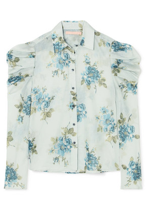 Brock Collection - Tanner Floral-print Cotton-voile Blouse - Light blue