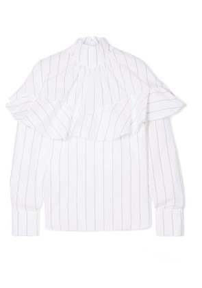 A.W.A.K.E. - Ruffled Pinstriped Cotton-poplin Blouse - White