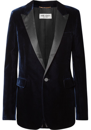 Saint Laurent - Satin-trimmed Velvet Blazer - Navy