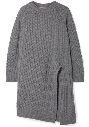 Stella McCartney - Oversized Asymmetric Cable-knit Wool And Alpaca-blend Sweater - Gray