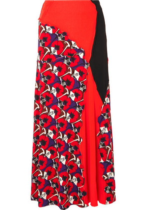 Marni - Patchwork Printed Jersey Maxi Skirt - Red