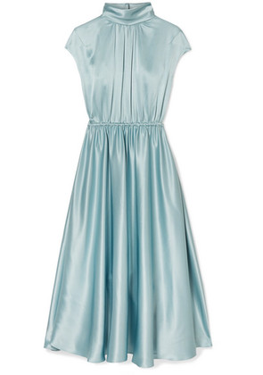 Adam Lippes - Gathered Silk-charmeuse Turtleneck Midi Dress - Sky blue