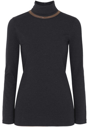 Brunello Cucinelli - Bead-embellished Stretch-cotton Jersey Turtleneck Top - Gray
