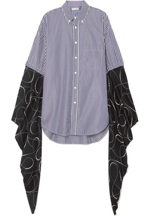 Balenciaga - Oversized Striped Cotton-poplin And Printed Silk-georgette Shirt - Navy