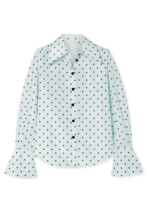 Marc Jacobs - Polka-dot Flocked Silk-taffeta Shirt - Sky blue