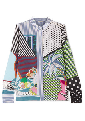 Mary Katrantzou - Clara Printed Silk Crepe De Chine Blouse - Light blue