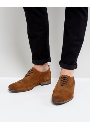 ASOS Brogue Shoes In Tan Suede With Contrast Sole And Lace Detail - Tan