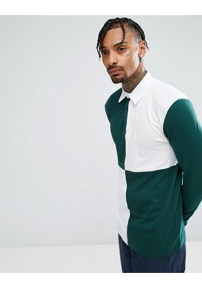 ASOS Longline Long Sleeve Rugby Polo Shirt With Colour Block Body - Compost