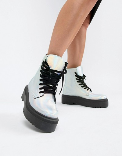 ed1745c61f0 ASOS DESIGN Attitude Chunky Lace Up Boots in iridescent | Silver ...