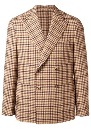 Caruso double breasted gingham jacket - Neutrals