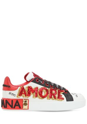 20MM AMORE EMBELLISHED LEATHER SNEAKERS