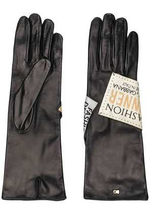 Dolce & Gabbana logo patch long gloves - Black