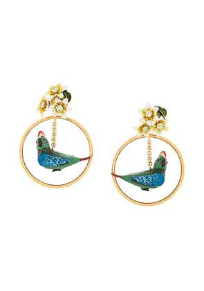 Dolce & Gabbana parrot drop earrings - Metallic