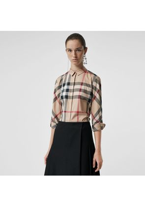 Burberry Stretch-Cotton Check Shirt, Beige