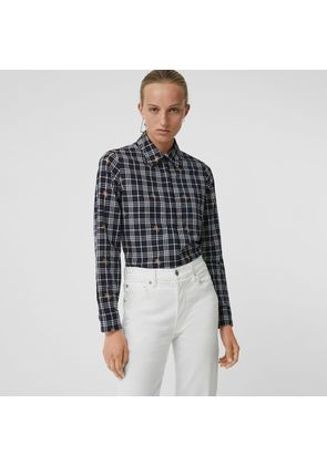 Burberry Fil Coupé Check Cotton Shirt, Blue