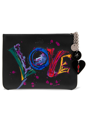 Christian Louboutin - Loubicute Embellished Printed Leather Pouch - Black