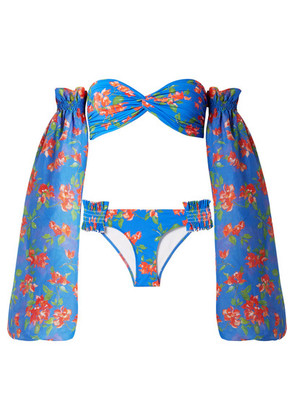Caroline Constas - Andros Floral-print Bikini And Cotton And Silk-blend Voile Sleeves - Bright blue
