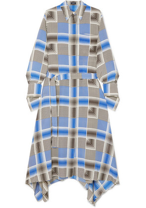 Joseph - Cyprien Belted Checked Silk Crepe De Chine Midi Dress - Blue