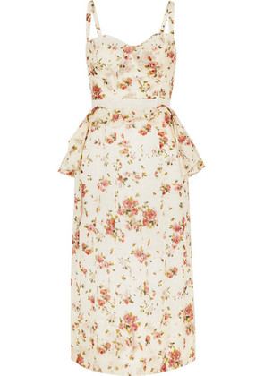 Brock Collection - Dailey Floral-print Cotton-voile Peplum Dress - Cream