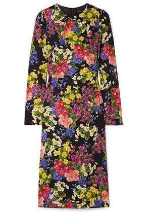 Dolce & Gabbana - Floral-print Silk-blend Midi Dress - Black