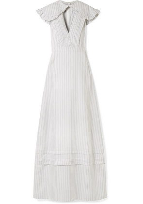 CALVIN KLEIN 205W39NYC - Cape-effect Striped Silk And Cotton-blend Maxi Dress - White