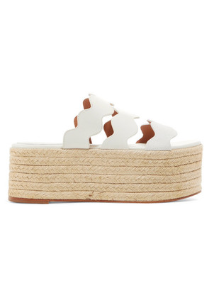 Chloé - Lauren Scalloped Suede And Textured-leather Espadrille Platform Slides - White
