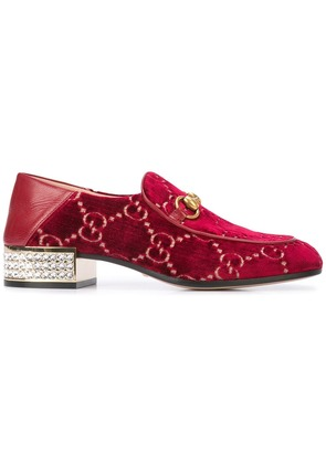 Gucci logo pattern loafers - Red