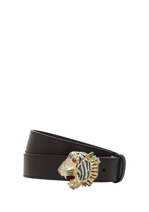 30MM TIGER BUCKLE LEATHER BELT