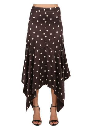 POLKA DOT VISCOSE SATIN LONG SKIRT