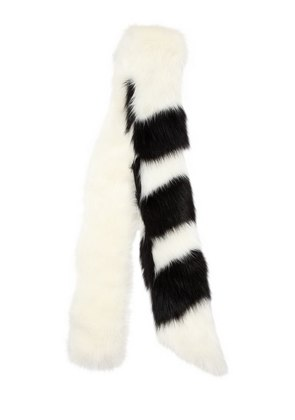 STRIPED FAUX FUR SCARF