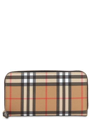 VINTAGE CHECK LEATHER ZIP AROUND WALLET