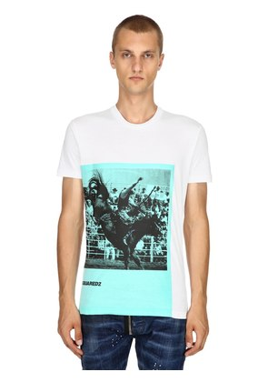 RODEO PRINTED COTTON JERSEY T-SHIRT