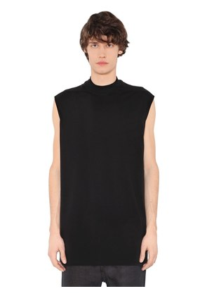 COTTON JERSEY SLEEVELESS T-SHIRT
