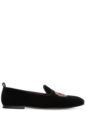 YOUNG POPE EMBROIDERED VELVET LOAFERS