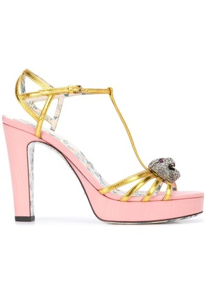Gucci t-strap sandals with tiger head - Yellow & Orange