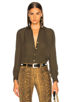 L'AGENCE Fiona Shirred Sleeve Blouse in Black