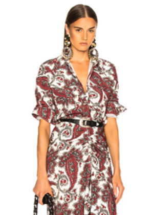 Isabel Marant Tania Shirt in Paisley,Red,White