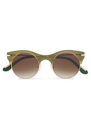 Roland Mouret Woman Round-frame Acetate Sunglasses Leaf Green Size -