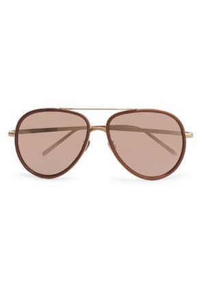 Linda Farrow Woman Aviator-style Acetate And Rose-gold Mirrored Sunglasses Antique Rose Size -