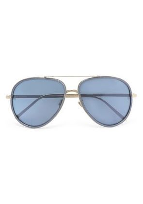 Linda Farrow Woman Aviator-style Gold-tone And Acetate Sunglasses Blue Size -