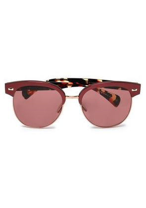 Oliver Peoples Woman Round-frame Acetate Sunglasses Burgundy Size -