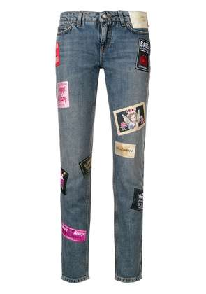 Dolce & Gabbana patched slim jeans - Blue