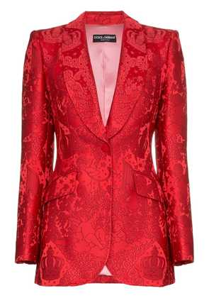 Dolce & Gabbana brocade single breasted silk blend jacket - Red