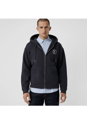 Burberry Embroidered Logo Jersey Hooded Top, Blue