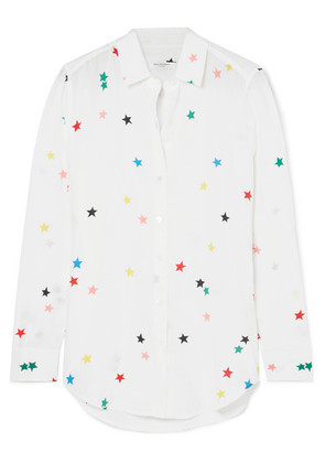 Equipment - Essential Printed Silk Crepe De Chine Shirt - White