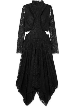 Alexander McQueen - Asymmetric Cutout Lace Midi Dress - Black